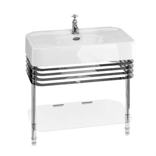 Arcade 900mm Basin With Chrome Wash Stand & Glass shelf