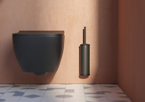 Tecno Project Metal Toilet Brush & Holder || Matt Black