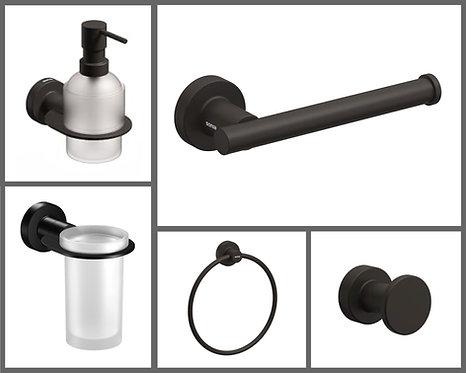 Tecno Project Bathroom Accessory Set || Matt Black
