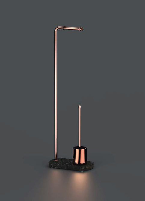 Nomad Classic Freestanding WC Brush- Toilet roll Holder Stand Rose Gold