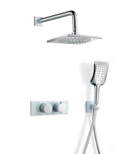 Riga Thermostatic fixed head Shower pack Chrome/White