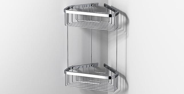 Sonia Wire Basket Deep Large Double Tier Corner - Chrome