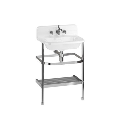 Burlington Roll Top Basin with upstand with Stainless Steel Stand 65cm