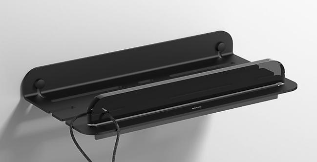 Quick Shower shelf Matt Black - With Shower screen wiper