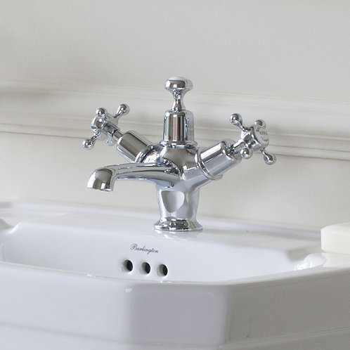 Burlington Claremont Basin Mixer With Central Indices and Pop Up Waste