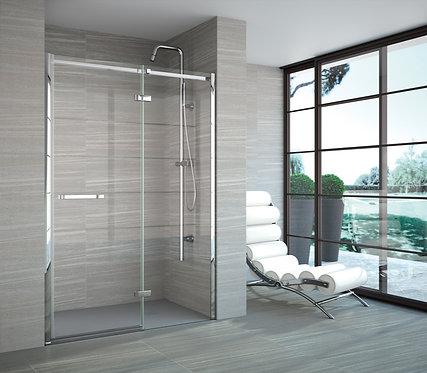 Series 8 Frameless Hinge Inline Shower Door In Recess - 1700mm