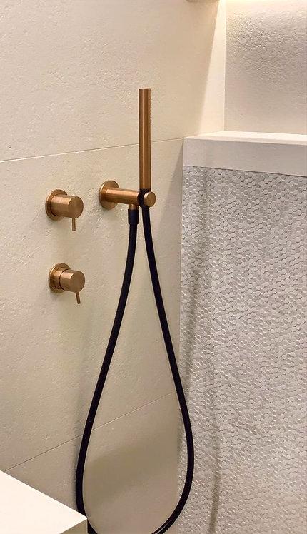 Flow Shower Handset Holder and Outlet :: PVD Finish Brushed Copper