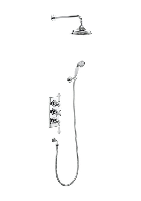 Trent Thermostatic Two Outlet Concealed Shower With Fixed Head and Riser Rail