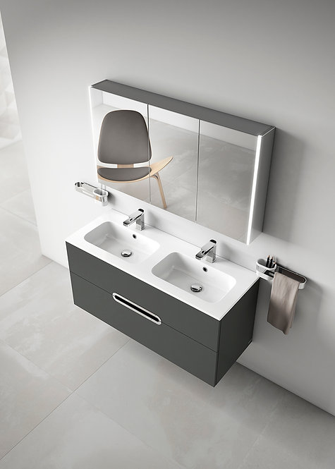 Sonia Play 1200mm Double Vanity Unit :: Anthracite Gloss