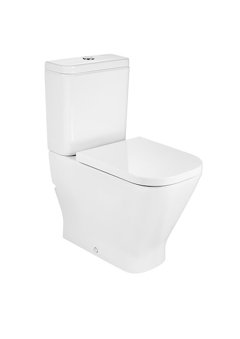 Roca The Gap Square Box Rim Comfort Height BTW C/C WC, Cistern & Soft Close Seat
