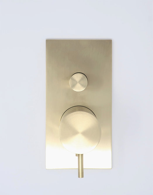 Flow Dual Thermostatic Shower Valve With Diverter, Square Plate :: Brushed Brass