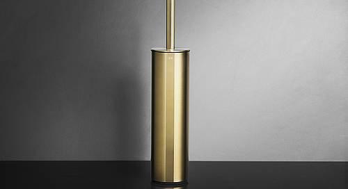 Reframe Freestanding Toilet Brush Set || Brass