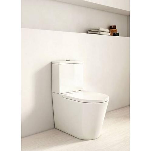 Roca Inspira Round Compact Rimless BTW Close Coupled WC, Cistern & Soft Close Se