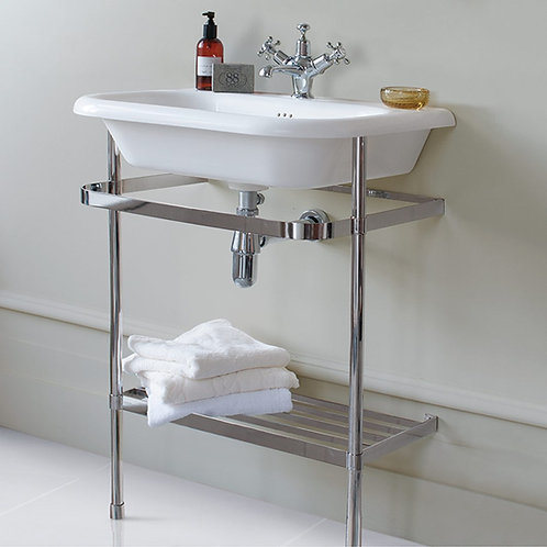 Burlington 65cm Roll Top Basin With Stainless Steel Stand