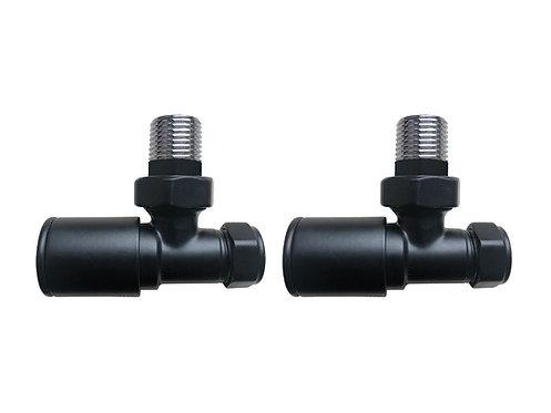 Minimalist Round Angled Radiator Valves - Black