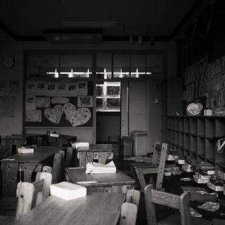"First Grade Classroom, Okuna Elementary School, 40""x40"", 2019, Digital Pigment Print, Okuna, Japan"