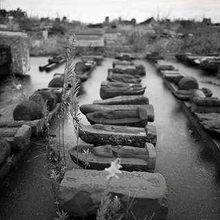 "Fishing Village of Daishido's displaced headstones, 40""X40"", 2019, Digital Pigment Print, Daishido, Japan"