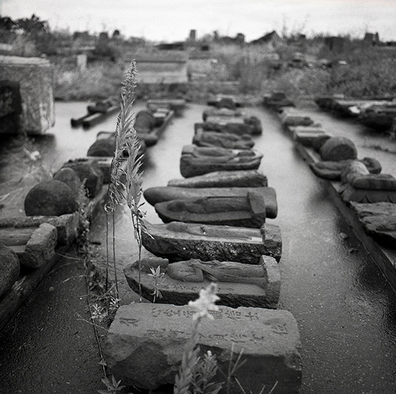 "Fishing Village of Daishido's displaced headstones, 40""X40"", 2019, Digital Pigment Print, Daishido, Japan"