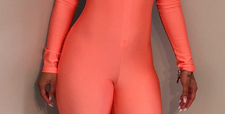 Neon orange jumpsuit