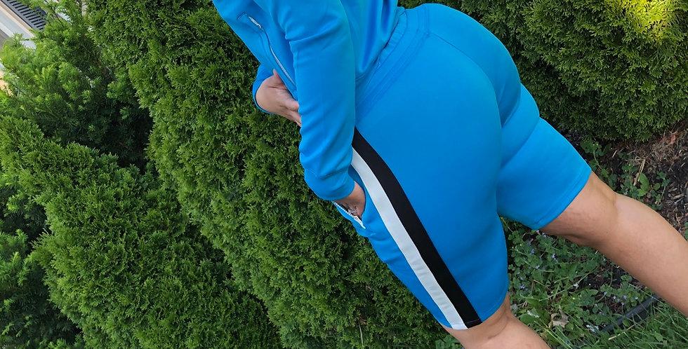 Blue shorts track set