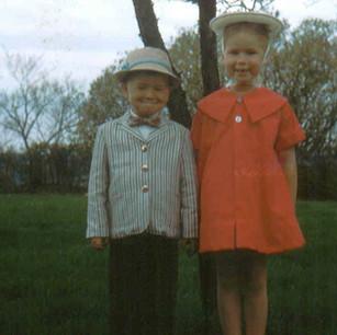 with older sister Jannie, c. 1956