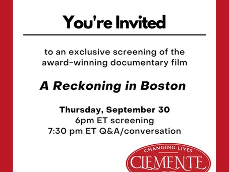A Special Clemente Screening of A RECKONING IN BOSTON