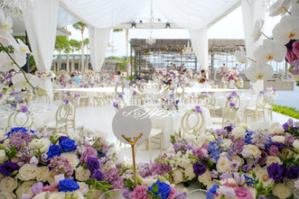 tent with drapery with white melamine stage