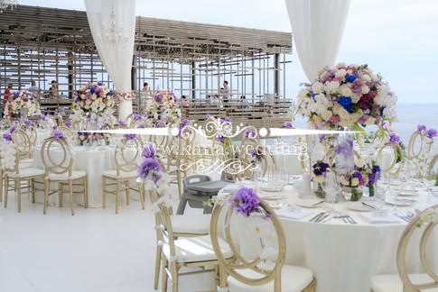 purple blue white theme wedding