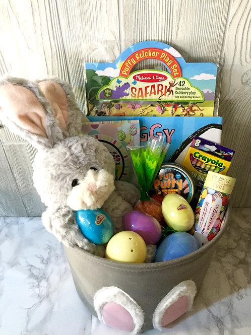 Grey Bunny Ears Easter Basket