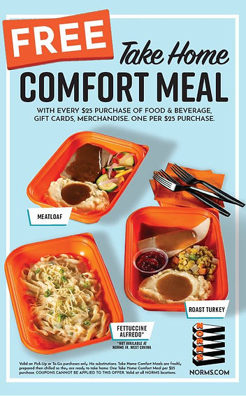NORMS - Free Take Home Comfort Meal with