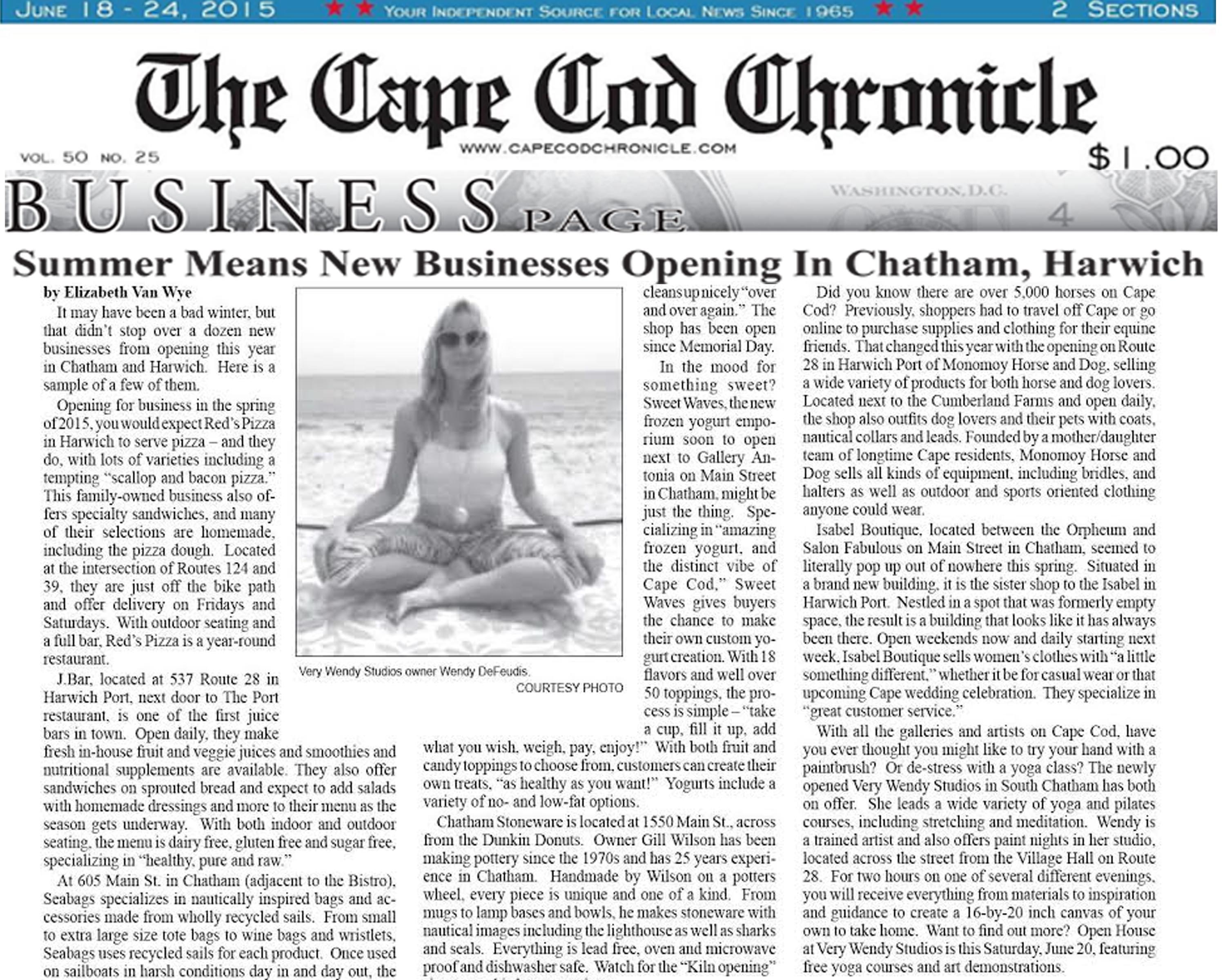 Very Wendy Studios Featured in Cape Cod Chronicle | Best Cape Cod