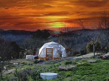 serre dome coucher de soleil