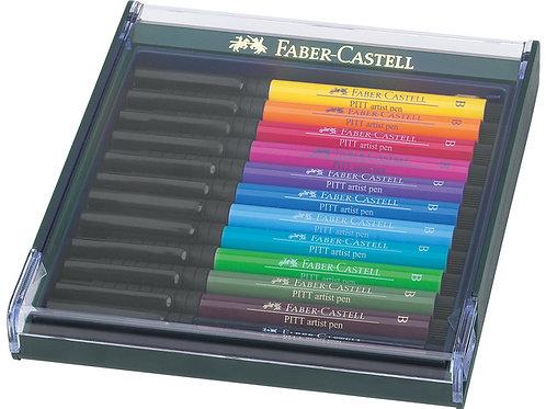 tekenstift Faber-Castell Pitt Artist Pen Brush set 12 stuks Basic