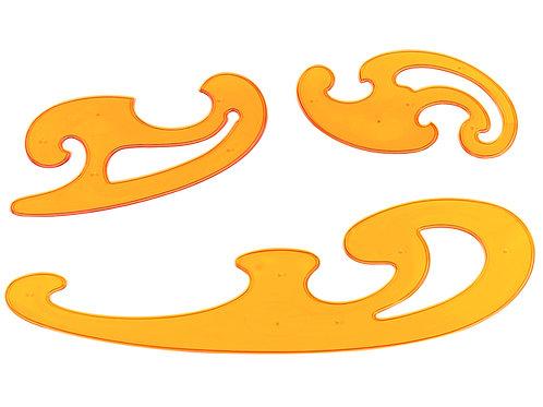 Aristo burmesterset  3 delig geel transparant