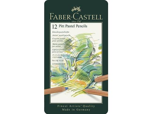 pastelpotlood Faber-Castell Pitt metalen etui a 12 stuks