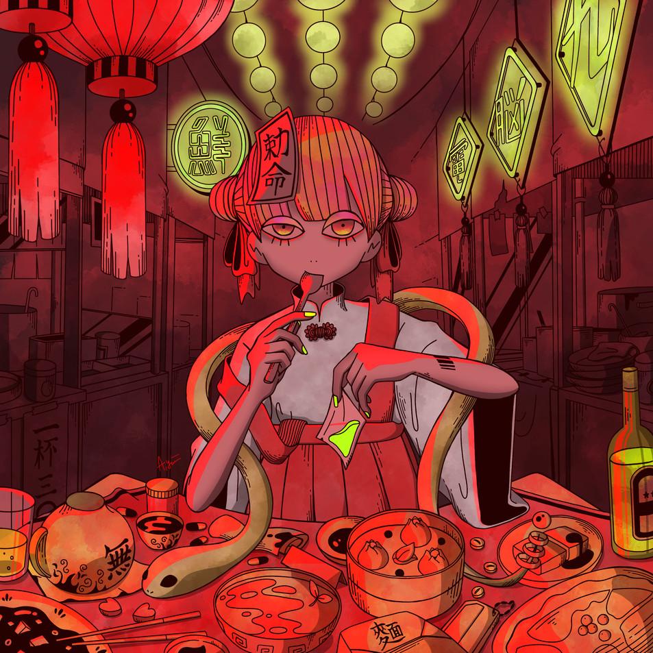 街の外れの夜市で働く看板娘のあの子は赤い服がよく似合う.jpg