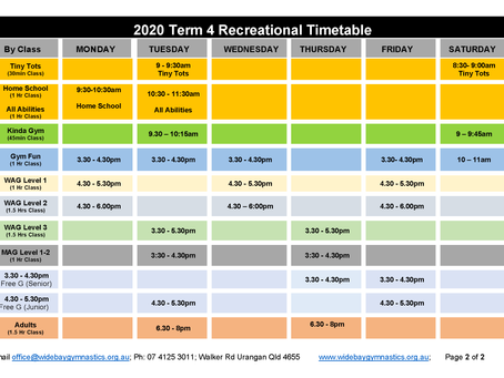Term 4 Timetable