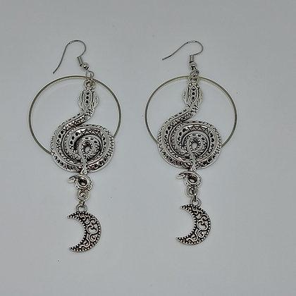 Aretes serpiente y luna