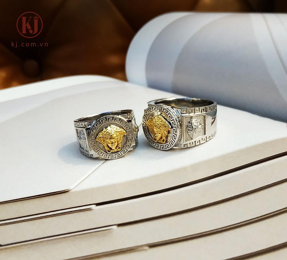 Sản phẩm nhẫn bạch kim phối cùng vàng
