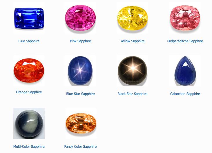 Những viên Saphire rực rỡ với các màu sắc và hình dạng khác nhau