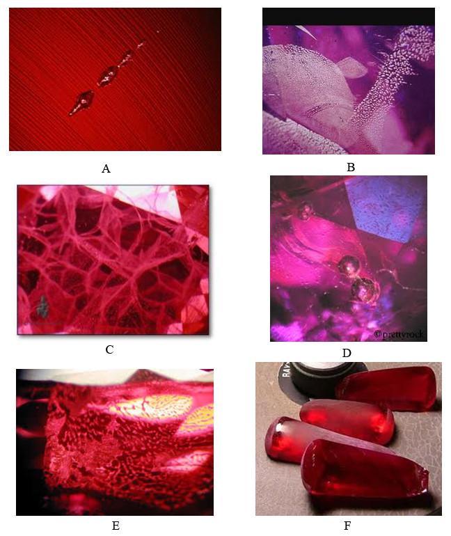 Một số dị vật là vết tích của chất trợ dung khi nấu chảy  nguyên liệu trong quá trình nuôi cấy Ruby