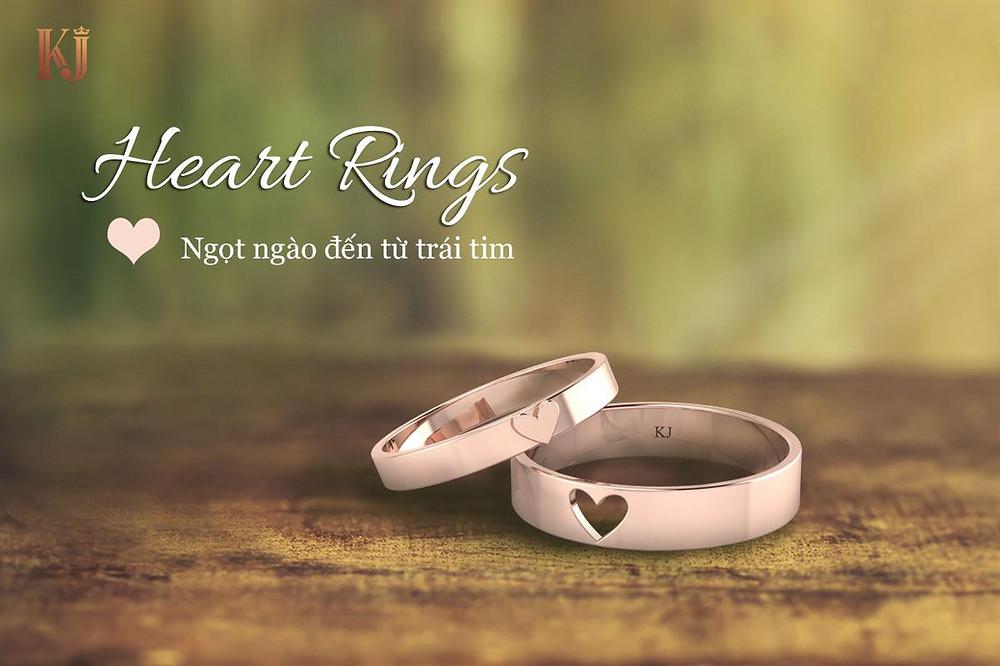 Nhẫn cưới trái tim lồng lãng mạn