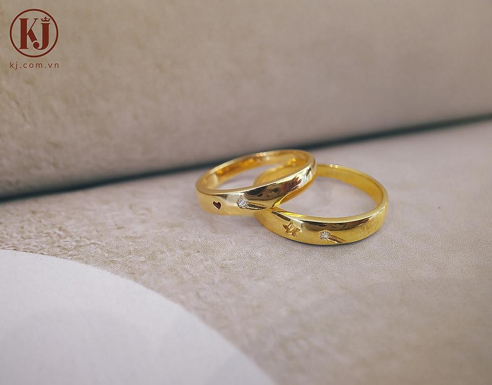 Nhẫn cưới độc đáo trái tim sao- Tình ta đẹp tựa trăng sao
