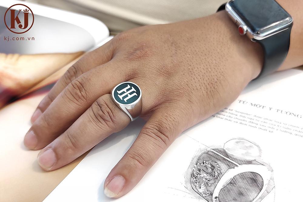 Nhẫn nam Casual Chữ H thiết kế theo yêu cầu- Lồng ghép chữ cái tên riêng độc đáo
