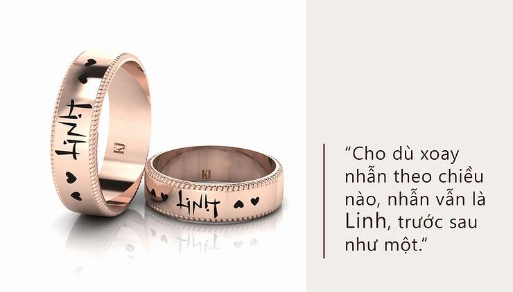 Nhẫn cưới khắc tên độc đáo