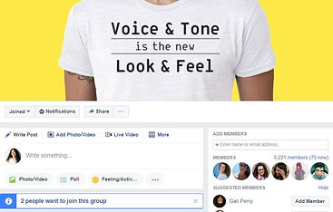 Microcopy Facebook group homepage