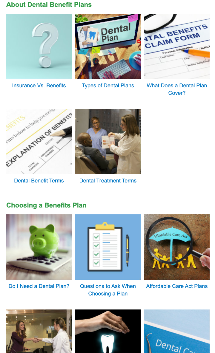 MouthHealthy.org information on insurance plans