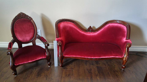 Kids Antique Red Couch & Chair. Price for both - Kids Antique Chair & Couch