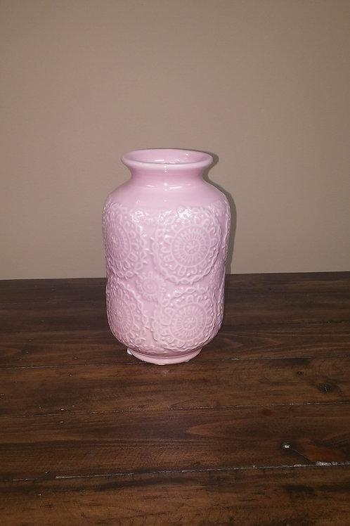 Ceramic Pink Doily Vase