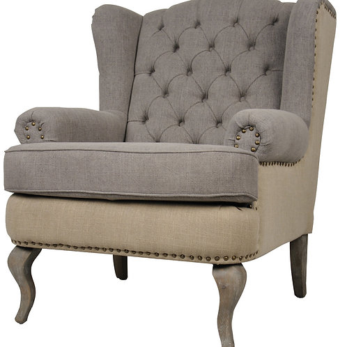 Club Chair - Grey and Cream